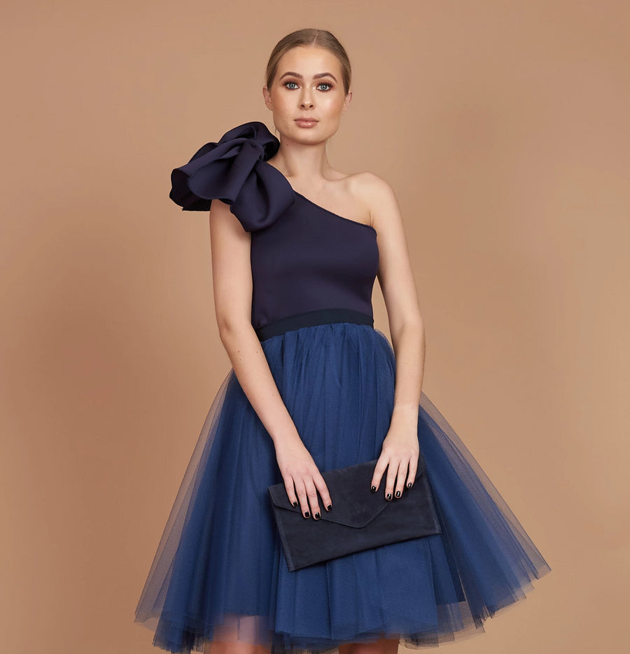 Navy Bow Mini Tulle Dress