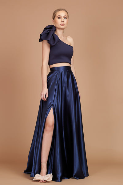 Navy Satin Maxi Circle Skirt