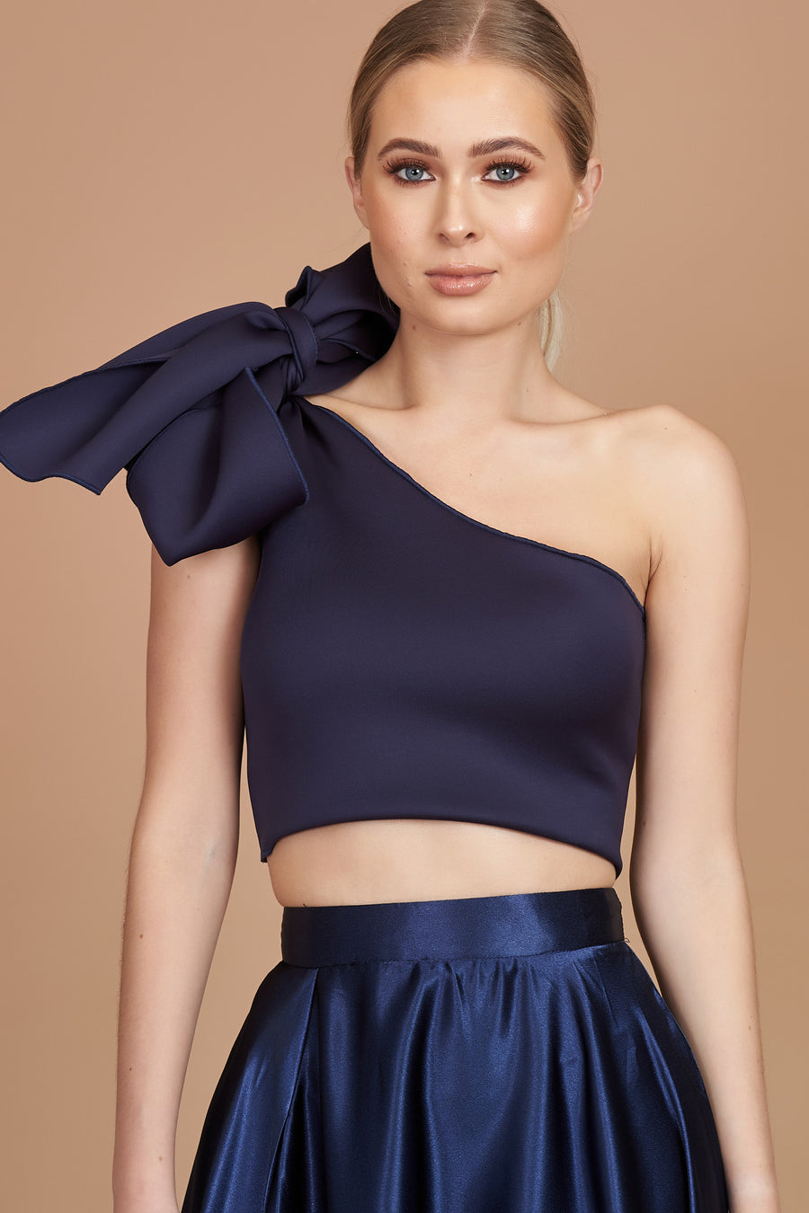 Navy One Shoulder Bow Top
