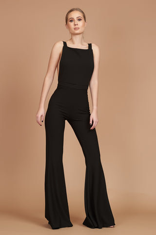 Black Flared Leg Pinafore Jumpsuit