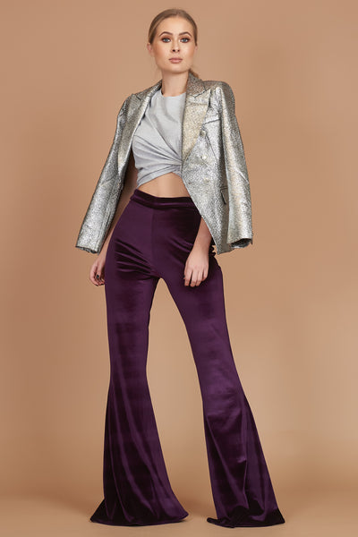 Purple Velvet Stretch Flares
