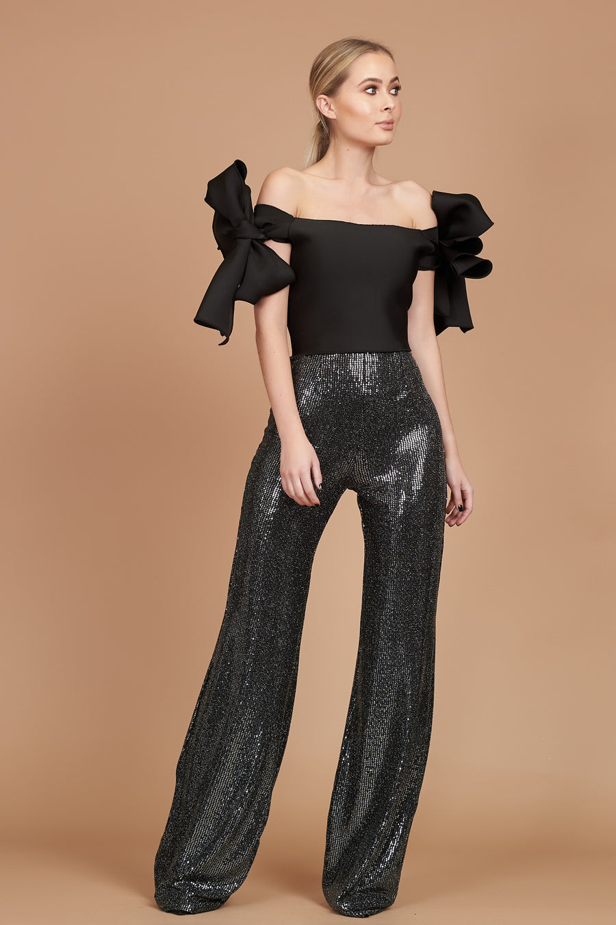 Pre Loved Charcoal Sequin Jersey Flares