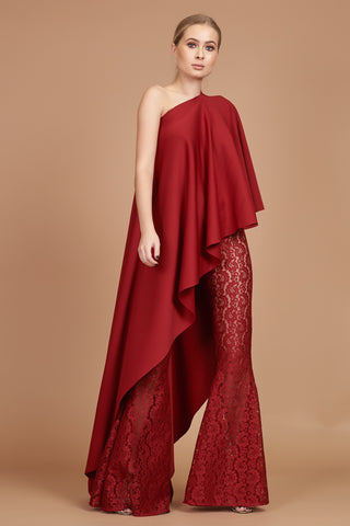 Crimson Asymmetric Drape Top