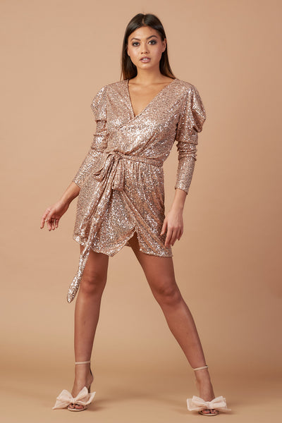 Rose Gold Sequin Mini Wrap Dress