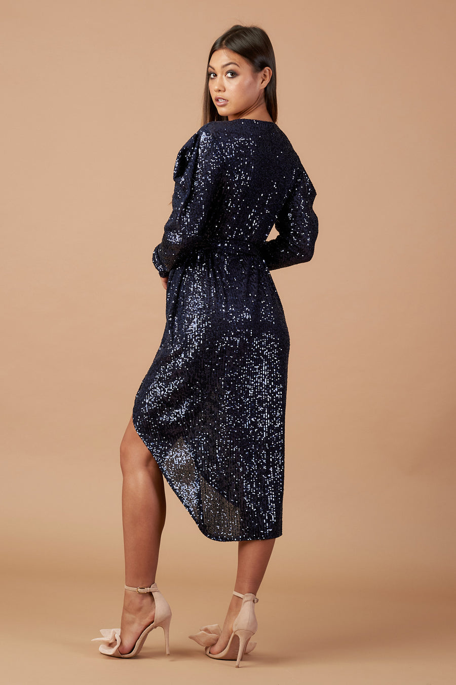 Midnight Blue Sequin Wrap Dress