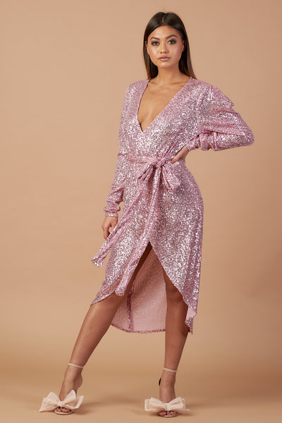 Pink Sequin Wrap Dress