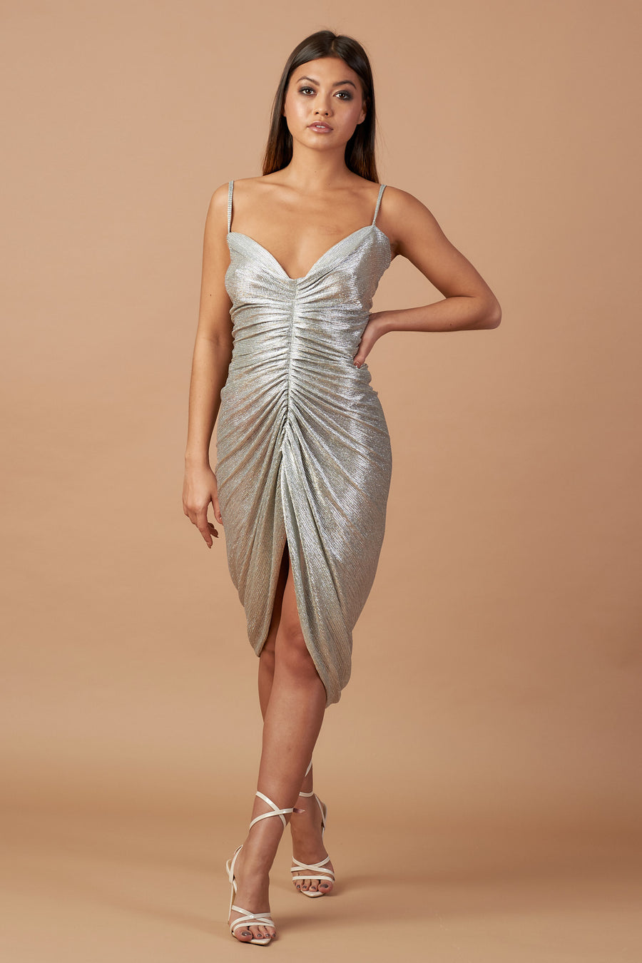 Metallic Ruched Cami Dress