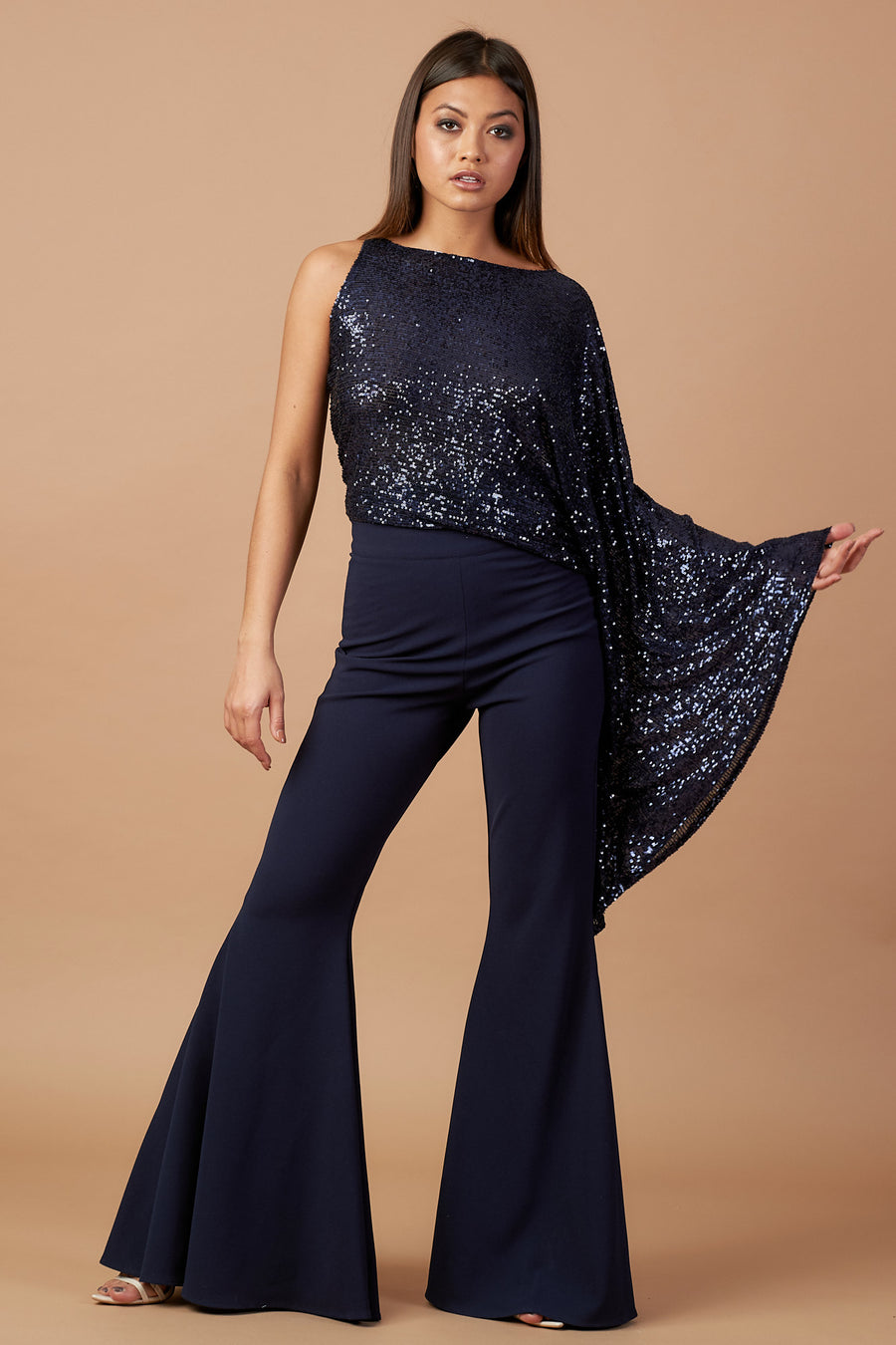 Midnight Blue Sequin Flute Sleeve Top