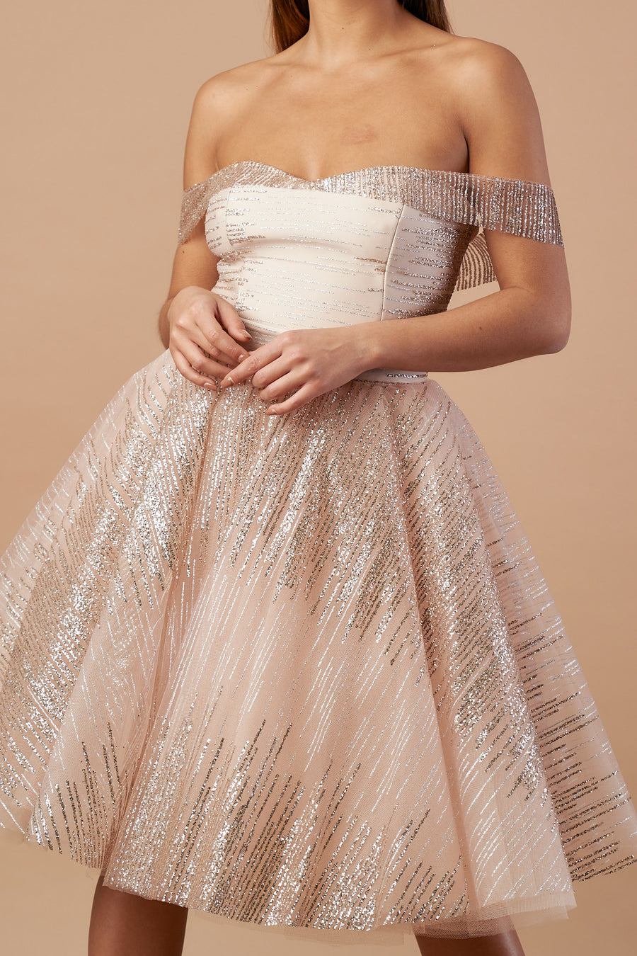 Nude Bardot Glittery Tulle Dress
