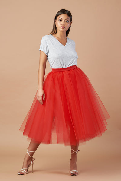 Red Tea Length Tulle Skirt