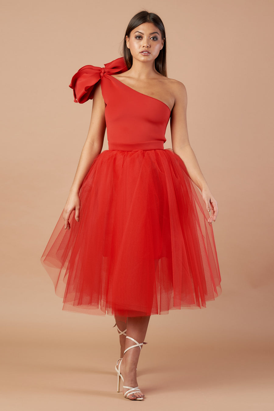 Red Bow Tulle Dress
