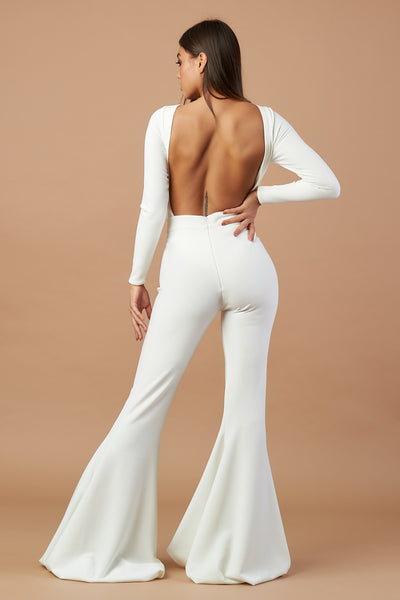 Ivory Flared Backless Jumpsuit