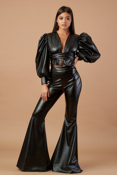 Black Faux Leather Stretch Flares