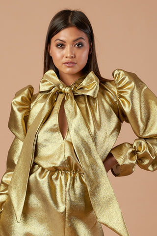 Metallic Gold Pussybow Top