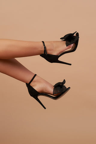 Black Organza Bow Heel