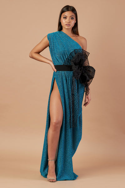 Teal Sparkle Drape Dress