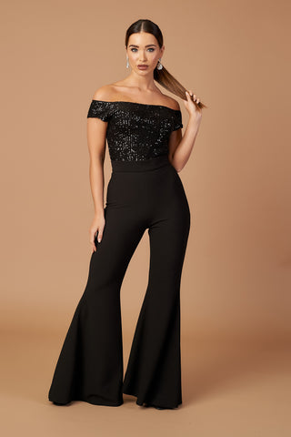 Sequin Bardot Flared Jumpsuit