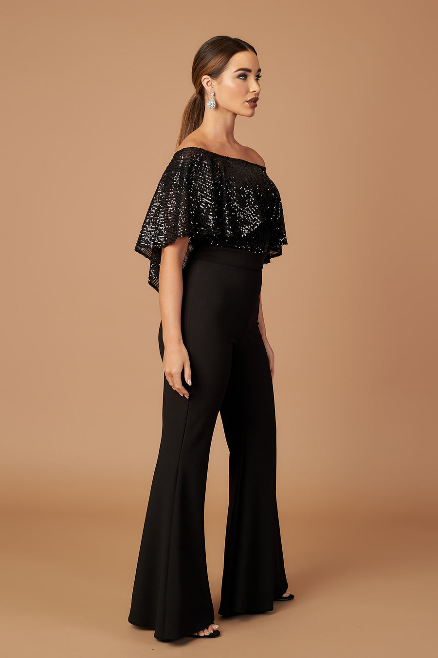 Sequin Bardot Draped Jumpsuit