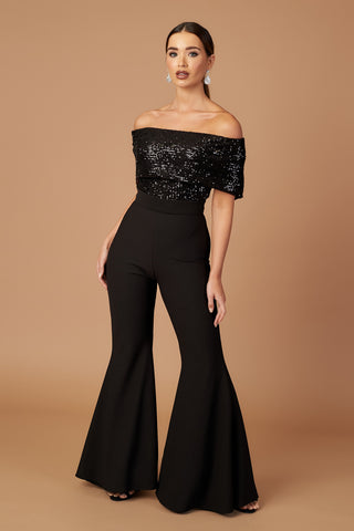 Sequin Off Shoulder Flared Jumpsuit
