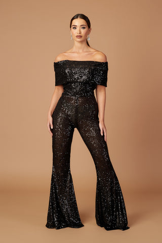 Disco Off Shoulder Flared Jumpsuit