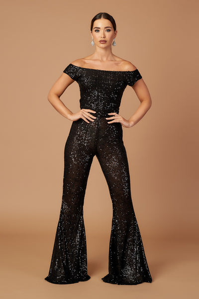Disco Bardot Flared Jumpsuit