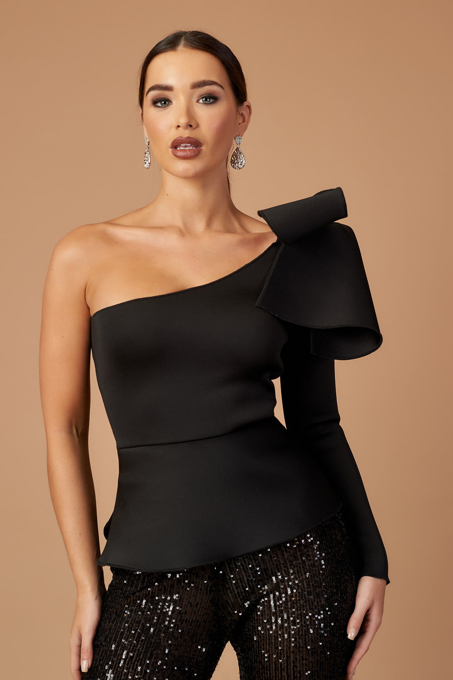 Black One Shoulder Peplum Bow Top