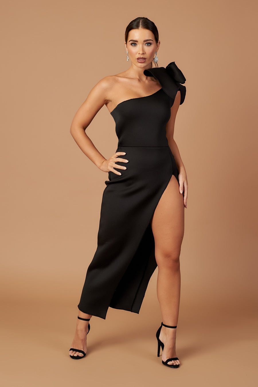 Black Bow Shoulder Split Dress