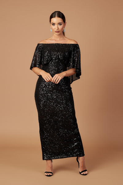Black Sequin Bardot Draped Maxi Dress
