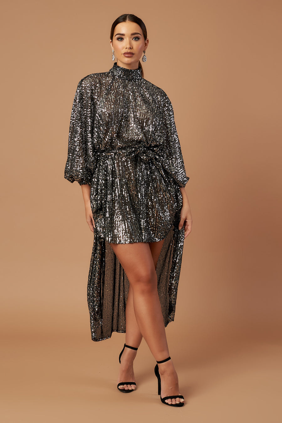 Silver Disco Dip Hem Dress