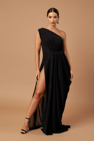 Black Sparkle Drape Dress