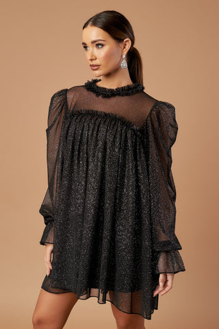 Black Sparkle Tulle Tunic Dress