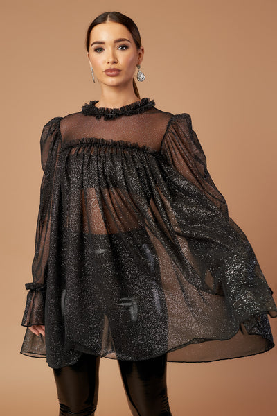 Black Sparkle Tulle Tunic Top