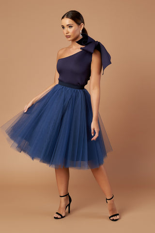 Navy Bow Tulle Dress