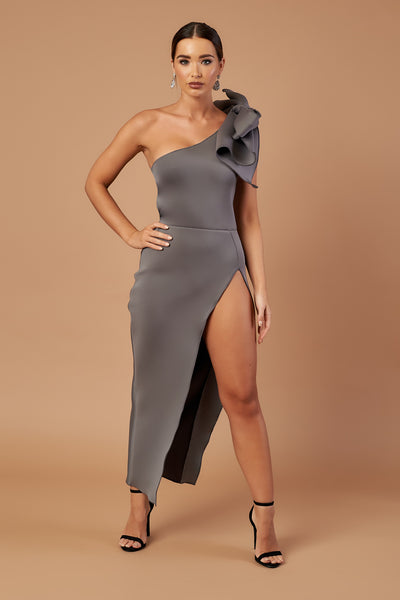Silver Bow Shoulder Split Dress