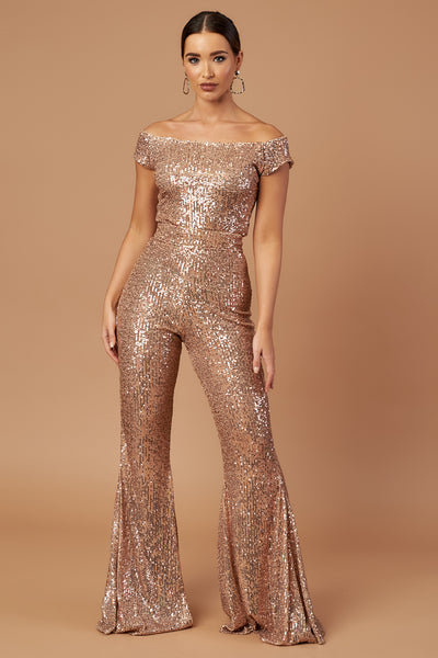 Rose Gold Bardot Flared Jumpsuit