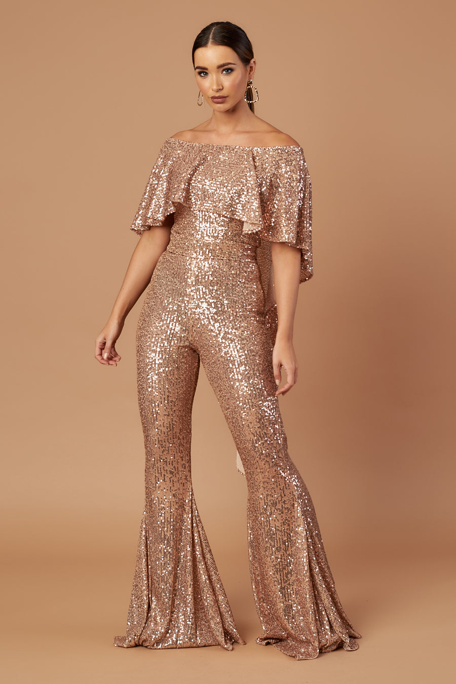 Rose Gold Draped Flared Jumpsuit