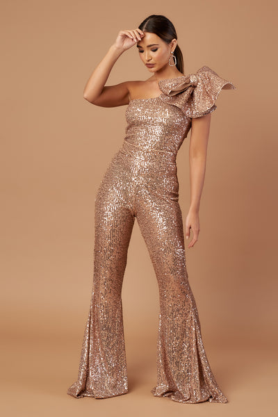 Rose Gold Sequin Bow Jumpsuit