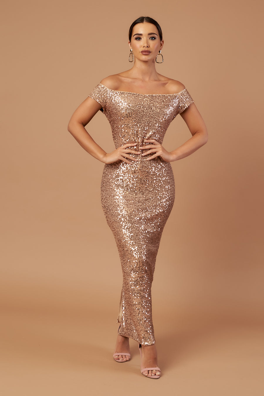Rose Gold Bardot Sequin Maxi Dress