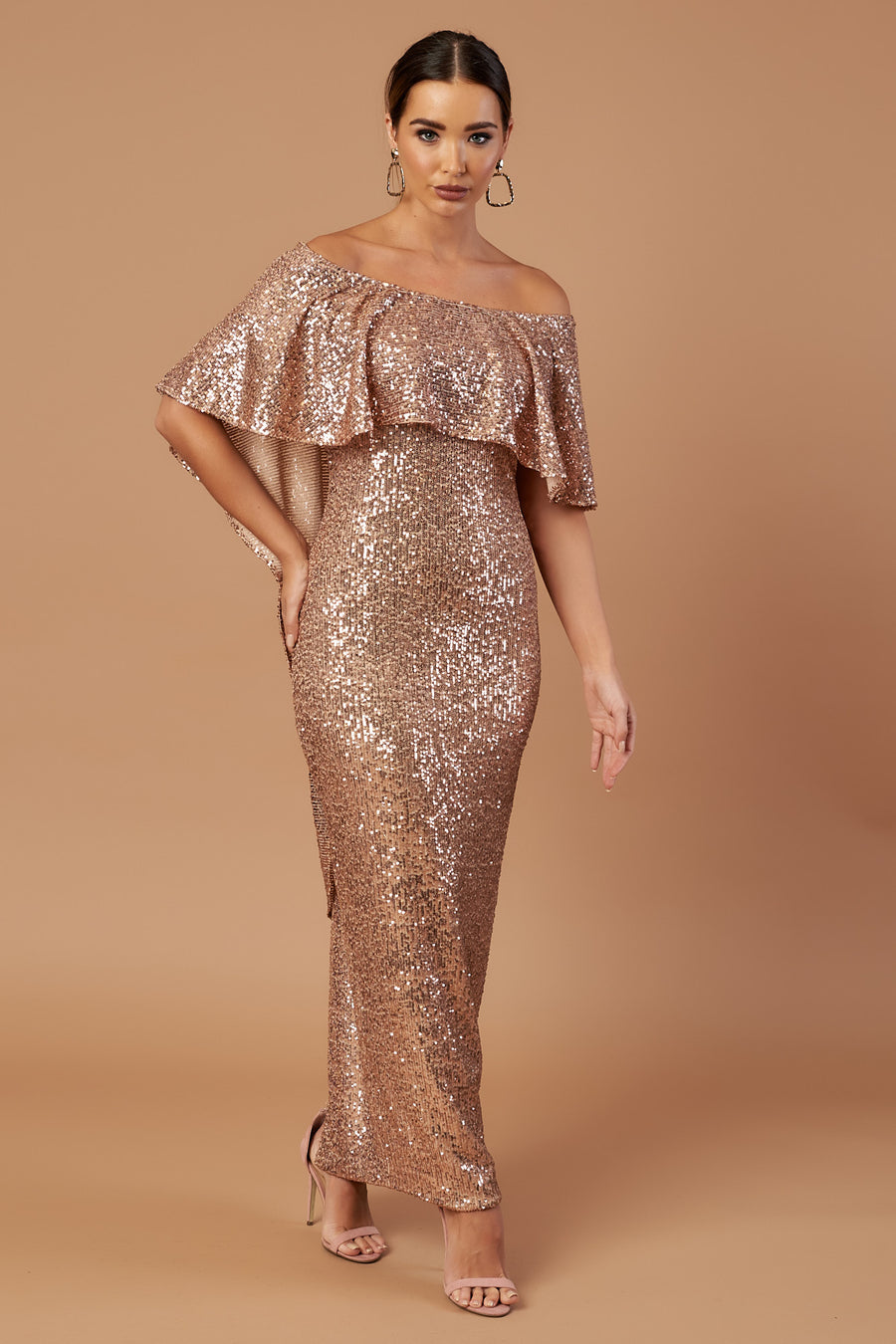 Pre Loved Rose Gold Sequin Bardot Draped Maxi Dress