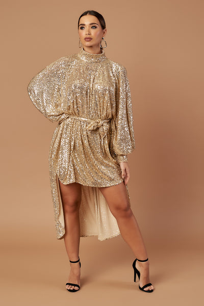 Gold Disco Dip Hem Dress