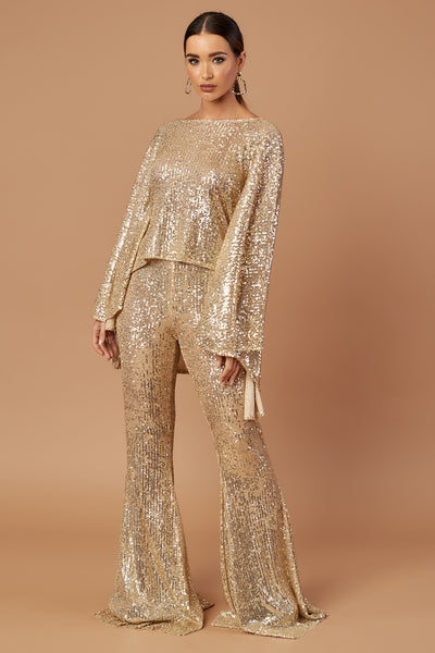Gold Sequin Stretch Flares