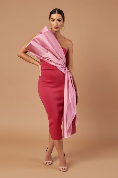 Pink Duchess Satin Drape Midi Dress