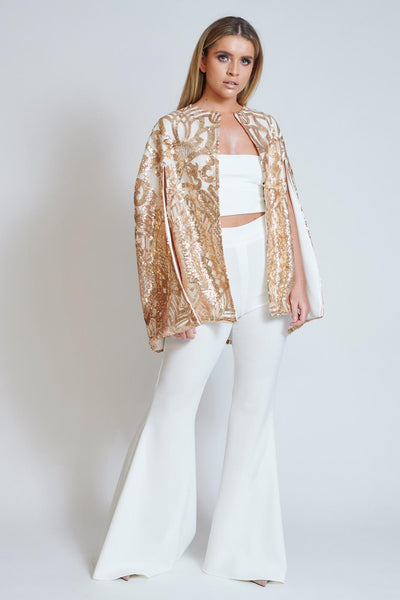 Gold Coveted Sequin Cape Top