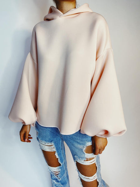 Peach Balloon Sleeve Long Lounge Hoodie