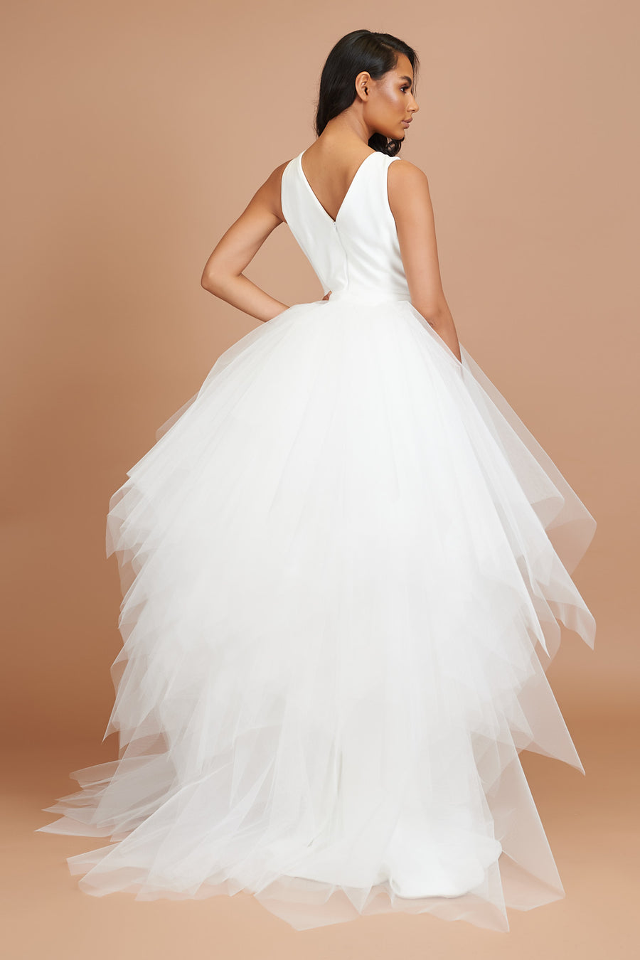 Ivory Choppy Tulle Back Skirt