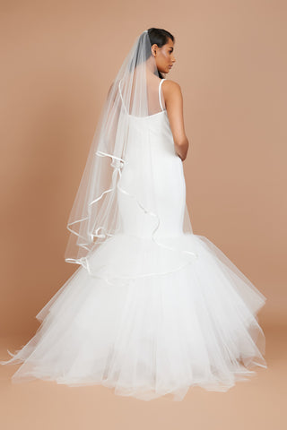 Ivory Satin Edged Veil