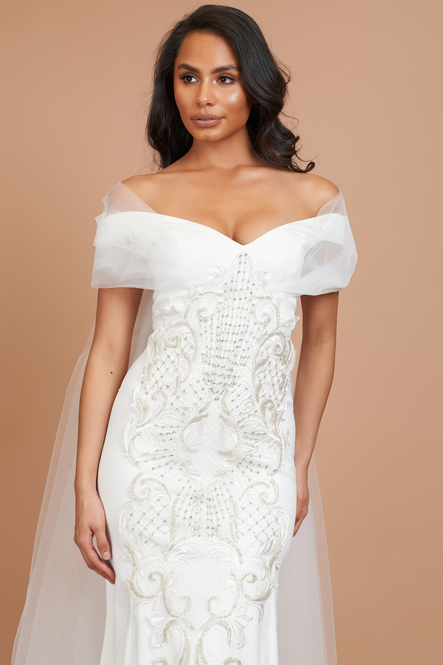 Ivory Embellished Bardot Tulle Dress