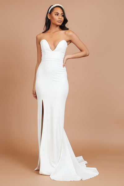 Ivory Plunge Neck Split Dress