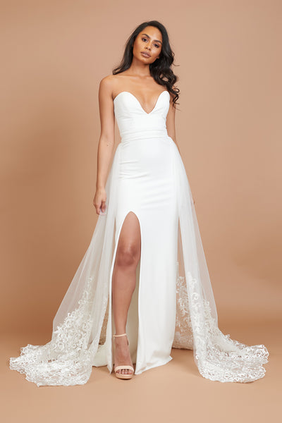 Ivory Lace Embroidered Tulle Back Skirt