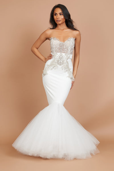 Ivory Embellished Fishtail Tulle Dress